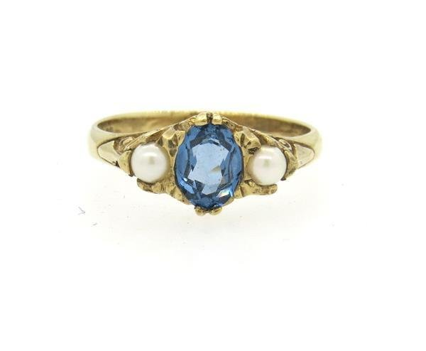 Antique English 9K Gold Sapphire Pearl Ring