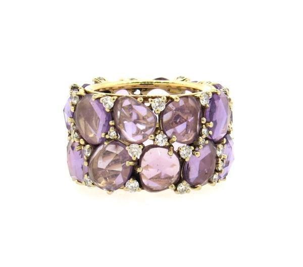Pomellato Lulu 18K Gold Diamond Amethyst Ring