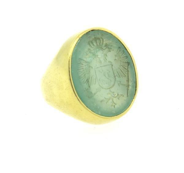 Large 18k Gold Emerald Intaglio Ring