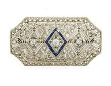 Art Deco Filigree 18K Gold Platinum Diamond Brooch Pin