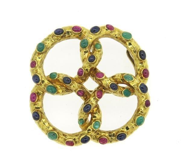 Large French 18K Gold Multi Gemstone Pendant Brooch Pin