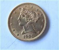 1900 Liberty Head 5 Five Dollar US Gold Coin