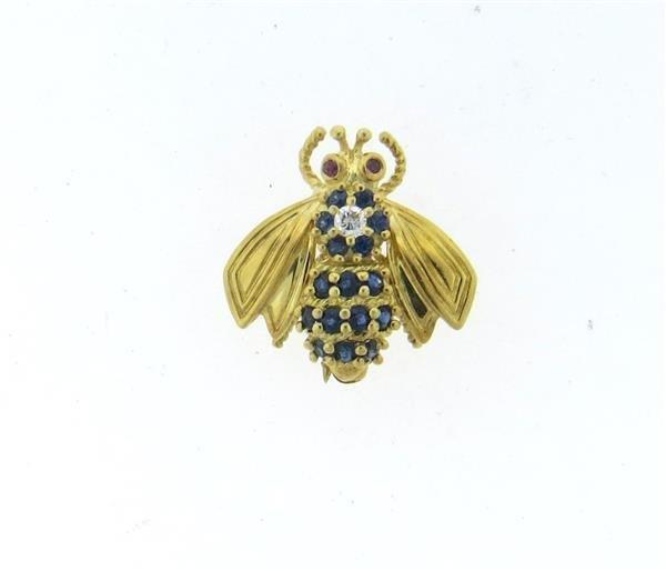 Tiffany & Co 18k Gold Diamond Sapphire Bee Brooch