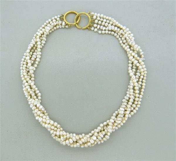 Tiffany & Co Picasso 18k Gold Pearl Multi Strand
