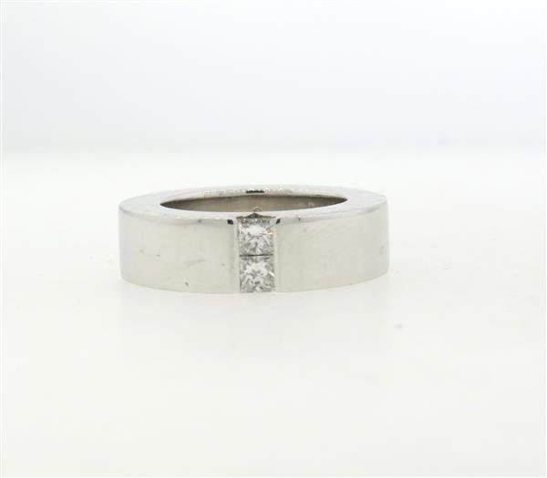 Gucci 18k Gold Diamond Wide Band Ring
