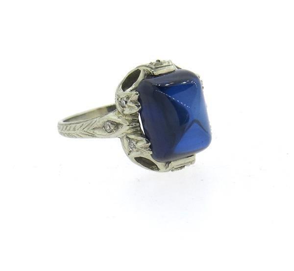 Art Deco 18k Gold Sugarloaf Blue Stone Diamond Ring