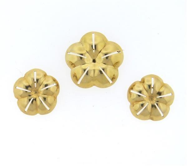 Pauline Trigere 14k Gold Brooch Set of 3