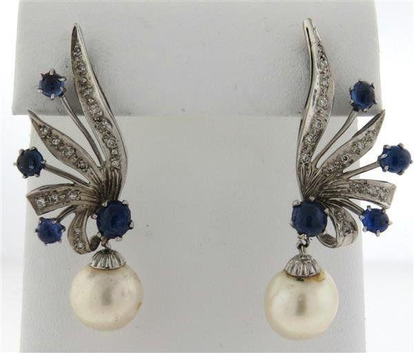 14k Gold Diamond Sapphire Pearl Drop Earrings