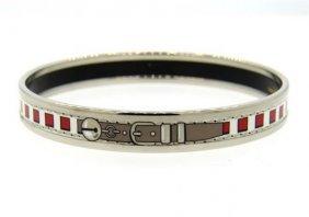 Hermes Enamel Metal Bangle Bracelet