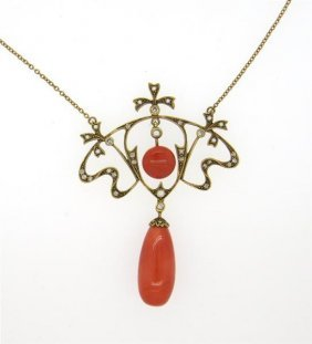 Antique Art Nouveau English Gold Diamond Pearl Coral