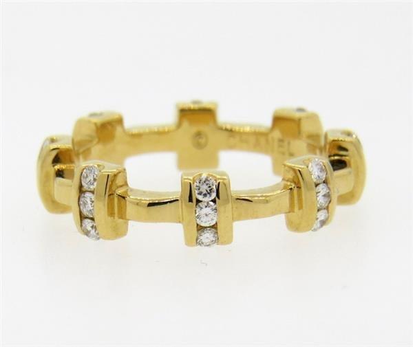 Chanel 18k Gold Diamond Band Ring