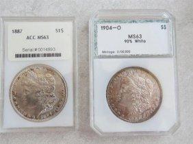 1887 1904 O Silver Morgan Dollar Us Coin Lot Of 2