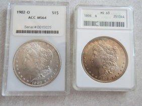 1898 1902 O Silver Morgan Dollar Us Coin Lot Of 2