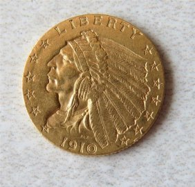 1910 Indian Head 2.5 Dollar Gold Us Coin