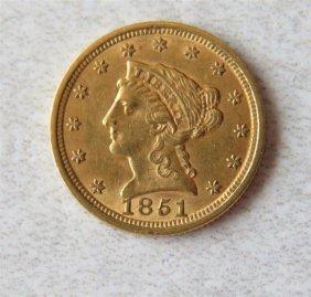 1851 Liberty 2.5 Dollar Gold Us Coin