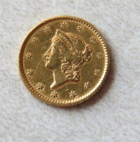 1853 Liberty 1 Dollar Gold Us Coin