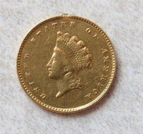 1855 Indian Princess 1 Dollar Gold Us Coin