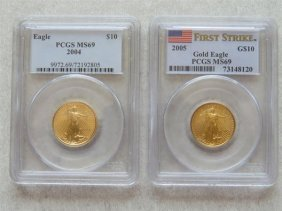 Pcgs 2004 2005 10 Dollar Eagle Gold Us Coin Lot Of 2