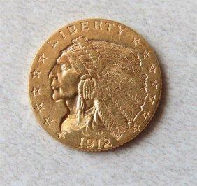 1912 Indian Head 2.5 Dollar Gold Us Coin