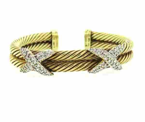 David Yurman 14k Gold Diamond 2.00ctw Diamond Cuff