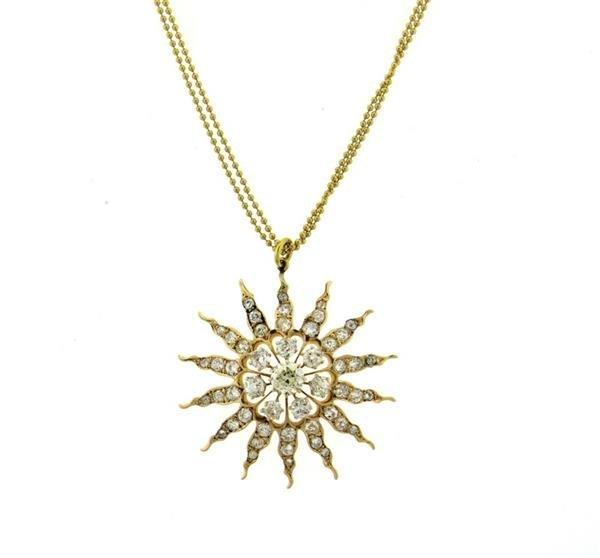 Renee Lewis 18K Diamond Starburst Pendant Necklace