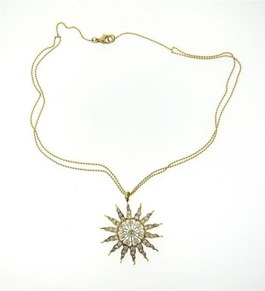 Renee Lewis 18K Diamond Starburst Pendant Necklace - 2