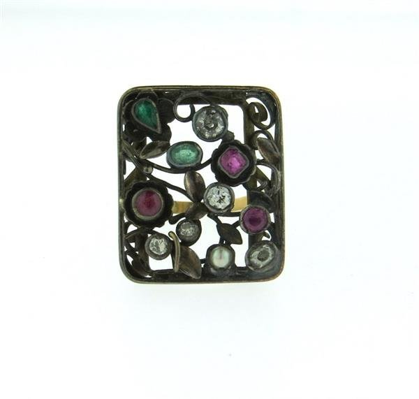 Antique 14K Gold Silver Diamond Ruby Emerald Ring