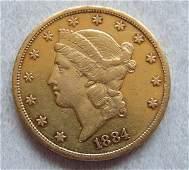 1884 CC Liberty Head 20 Dollars Double Eagle Gold US