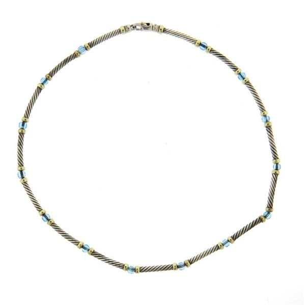 David Yurman Sterling 14k Gold Blue Topaz Cable
