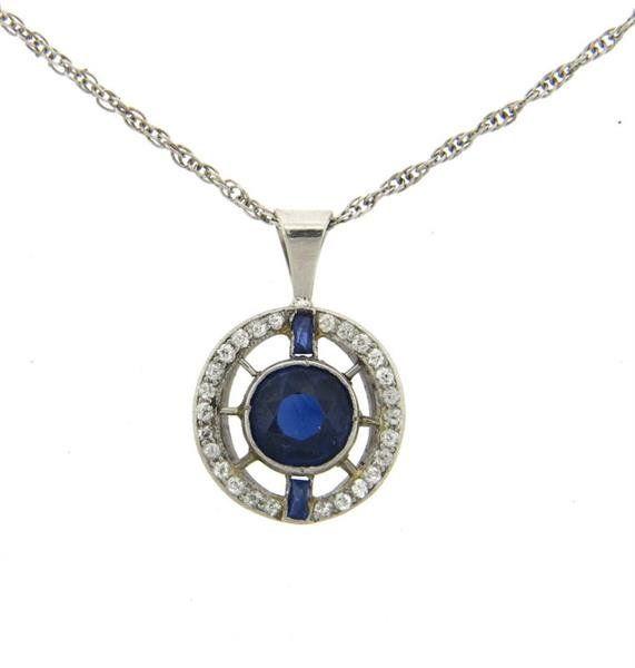 Art Deco Platinum 14k Gold Diamond Blue Stone Necklace