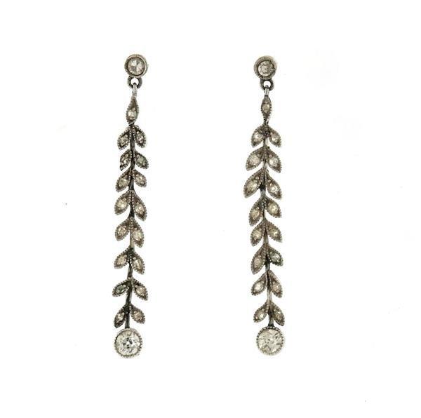 Platinum Diamond Leaf Motif Dangle Drop Earrings