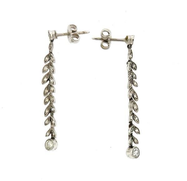 Platinum Diamond Leaf Motif Dangle Drop Earrings - 2
