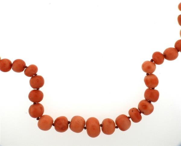 14K Gold Coral Bead Necklace - 2