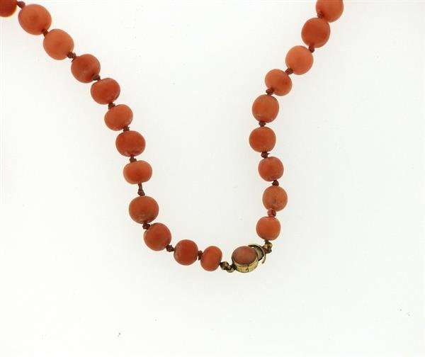 14K Gold Coral Bead Necklace - 3