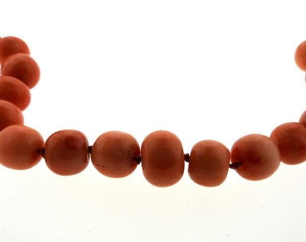 14K Gold Coral Bead Necklace - 4