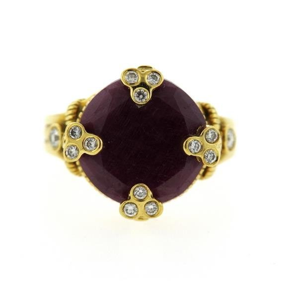 Judith Ripka 18K Gold Ruby Diamond Cocktail Ring