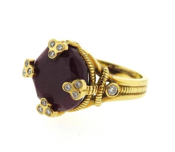Judith Ripka 18K Gold Ruby Diamond Cocktail Ring - 2