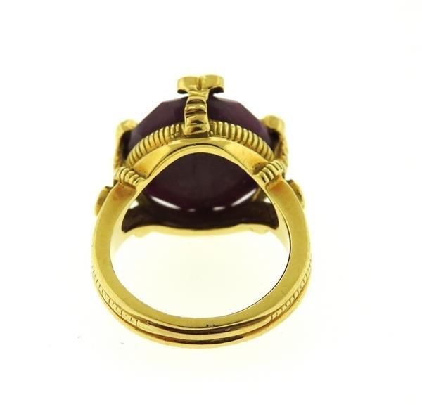 Judith Ripka 18K Gold Ruby Diamond Cocktail Ring - 3