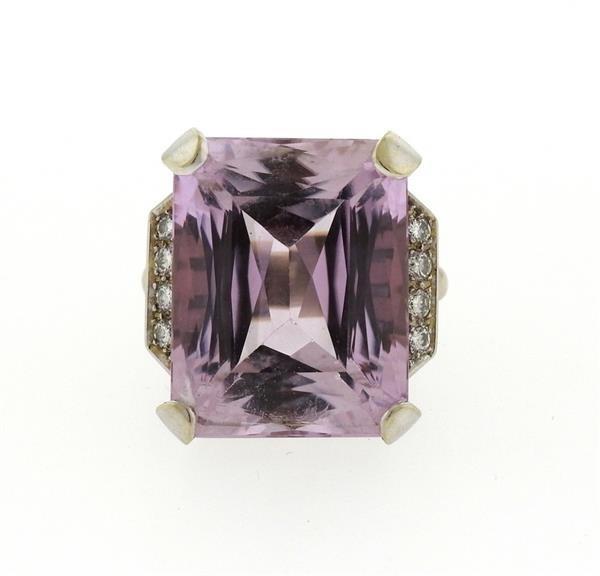 Retro 14K Gold 30ct Kunzite Diamond Cocktail Ring