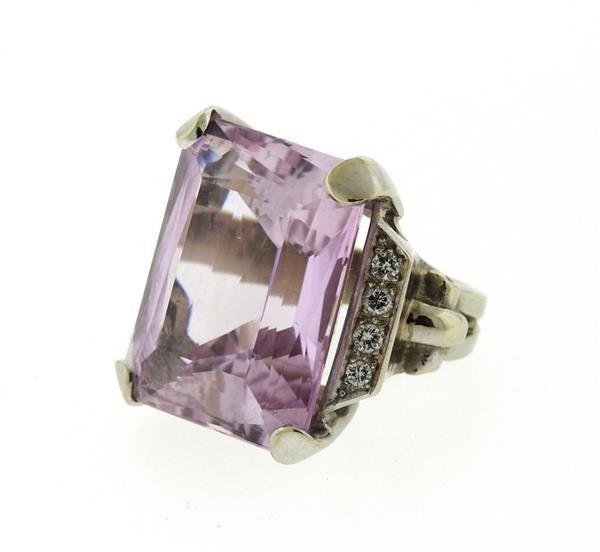 Retro 14K Gold 30ct Kunzite Diamond Cocktail Ring - 2