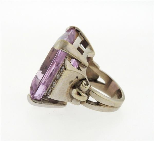 Retro 14K Gold 30ct Kunzite Diamond Cocktail Ring - 3