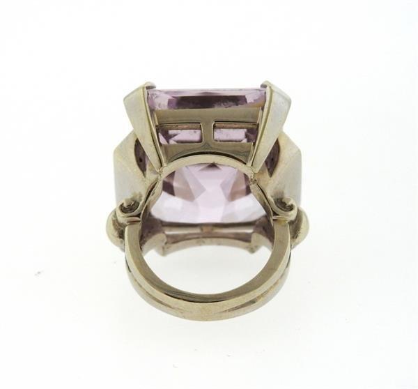 Retro 14K Gold 30ct Kunzite Diamond Cocktail Ring - 4