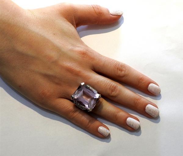Retro 14K Gold 30ct Kunzite Diamond Cocktail Ring - 5