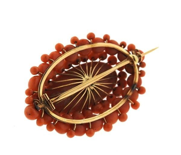 Antique 14K Gold Coral Brooch Pin - 3