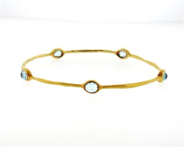 Ippolita Rock Candy 18K Gold Blue Topaz Bangle Bracelet