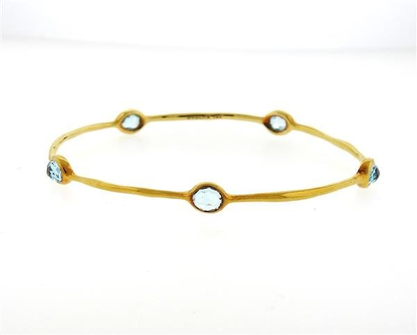 Ippolita Rock Candy 18K Gold Blue Topaz Bangle Bracelet - 2