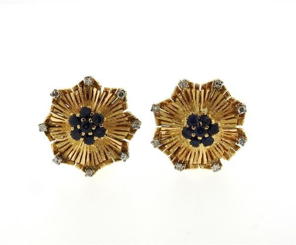 Mid Century 18K Gold Sapphire Diamond Earrings