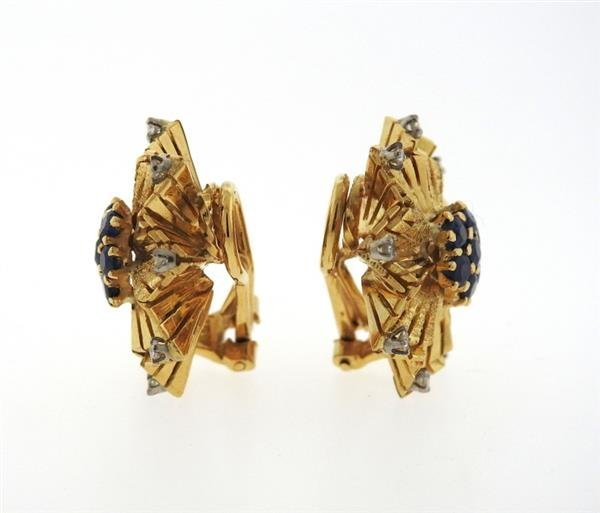 Mid Century 18K Gold Sapphire Diamond Earrings - 2
