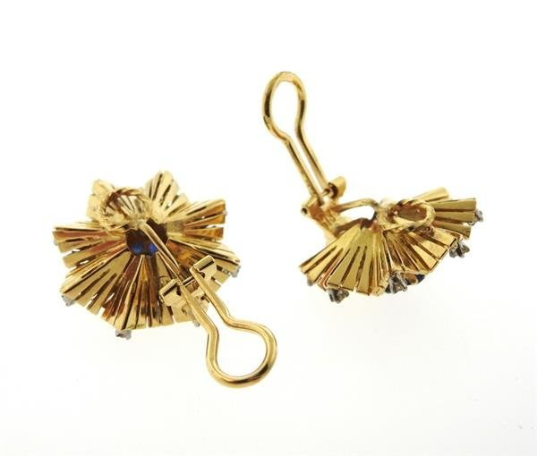 Mid Century 18K Gold Sapphire Diamond Earrings - 3