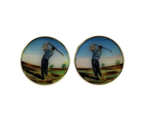 Tiffany & Co. Sterling Golfer Enamel Gold Cufflinks